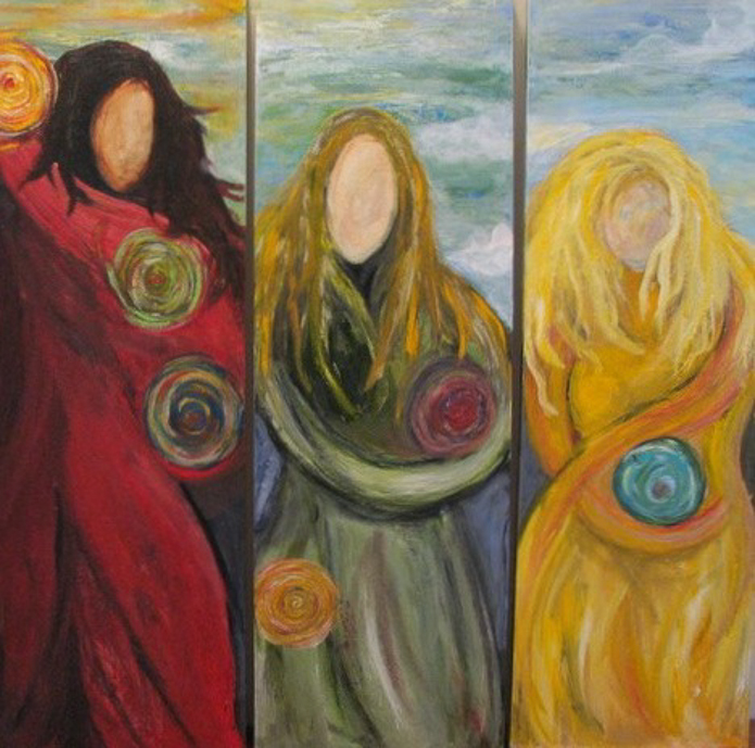 Sisters Three Oil on Wood, triptych Private collection