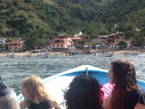 Arriving in Yelapa. We had a wonderful beach landing! Fun!