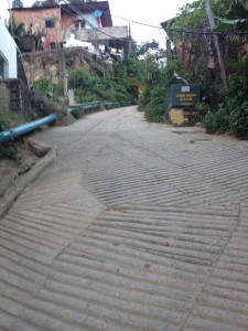 About half of the hill to my gate, then stairs up to the Pelapa