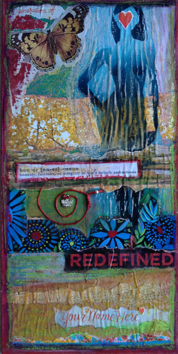 """Redefined Mixed media collage, 12"""" x 6"""" $65"""