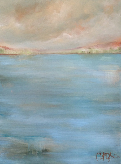 "Sky Lake Acrylic on canvas, 40"" x 30"" Private collection"