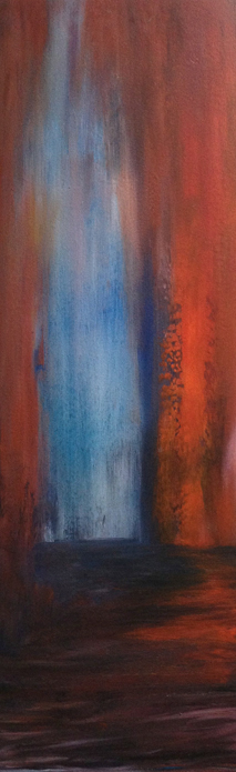 "Slot Canyon Oil on wood, 35"" x 12"" Private collection"