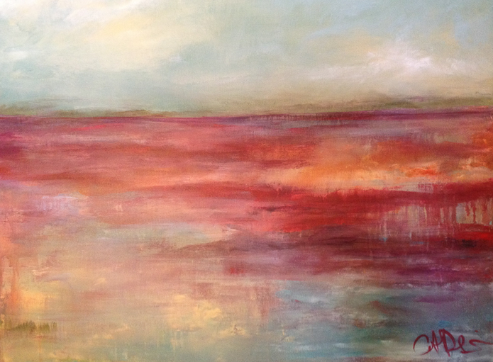 """Volcano Lake Acrylic on Canvas, 30"""" x 40"""" Private collection"""